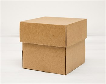 Коробка из плотного картона, 14х14х14 см, крышка-дно, крафт - фото 8779