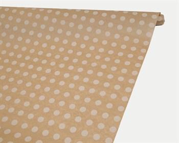 Бумага упаковочная, 40гр/м2, в белый горошек, 72см х 10м, 1 рулон - фото 8818