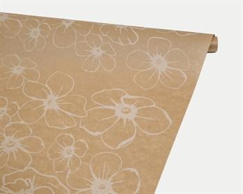 Бумага упаковочная, 40гр/м2, анемоны белые, 72см х 10м, 1 рулон - фото 8827