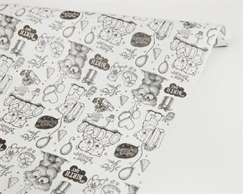 Бумага упаковочная, 50гр/м2, белые мишки, 72см х 10м, 1 рулон - фото 8856