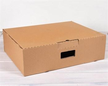УЦЕНКА Коробка картонная с ручкой 50х38х15 см, крафт - фото 8939