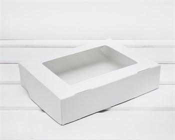 Коробка для выпечки и пирожных, 20х15х4,5 см, с прозрачным окошком, белая - фото 9057