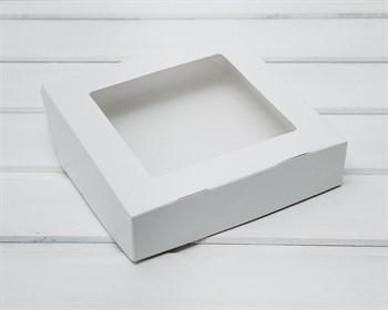 Коробка для выпечки и пирожных, 19,5х19,5х4,8 см, с прозрачным окошком, белая - фото 9059