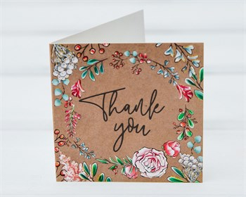 Открытка «Thank you», 7х7см, 1шт. - фото 9081