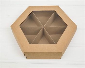 Коробка шестигранная с окошком, 29х25х8 см, крышка-дно, крафт - фото 9104