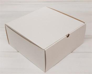 УЦЕНКА Коробка для высокого пирога 26х26х12 см из плотного картона, белая - фото 9124