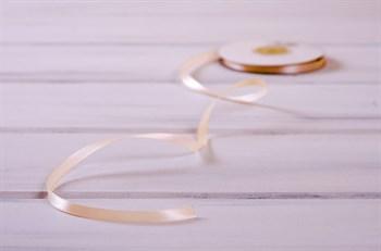Лента атласная, 6 мм, светло-персиковая, 27 м - фото 9189