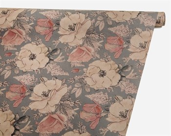 Бумага упаковочная, 50х70 см, «Цветы на сером», крафт, 1 лист - фото 9214