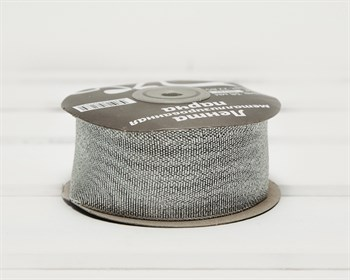 Лента металлизированная, 38 мм, серебряная, 27 м - фото 9465