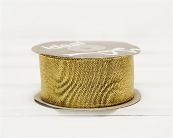 Лента металлизированная, 38 мм, золотая, 27 м - фото 9469