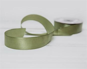 Лента атласная, 24 мм, оливковая, 1 м - фото 9493