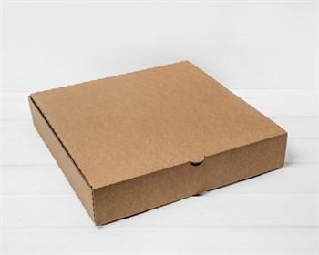 УЦЕНКА Коробка для пирога 35х35х7 см из плотного картона, крафт - фото 9553