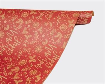 Бумага упаковочная, 50х70 см, «Новогодние пожелания», крафт, 1 лист - фото 9570