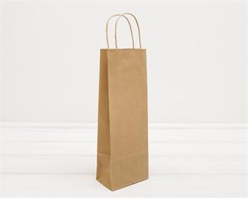Крафт пакет бумажный, 33х12х8 см, с кручеными ручками, коричневый - фото 9579