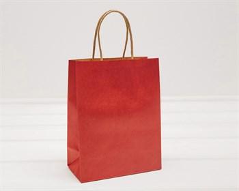 Пакет подарочный, 19х15х7,5 см, с кручеными ручками, красный - фото 9581