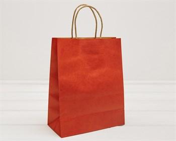 Пакет подарочный, 26х21х10 см, с кручеными ручками, красный - фото 9585
