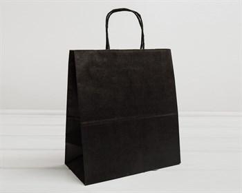 Крафт пакет бумажный, 31х28х14 см, с кручеными ручками, черный - фото 9592