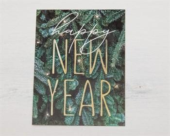 Открытка  «Happy New Year, зеленая», 8х6см, 1шт. - фото 9627