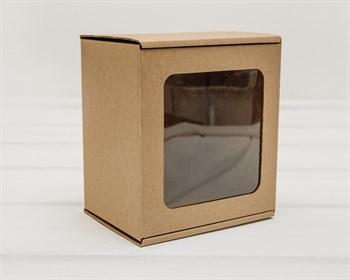 Коробка с окошком, 15х14х10 см, из плотного картона, крафт - фото 9720