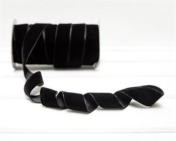Лента бархатная, 24 мм, черная, 1 м - фото 9800