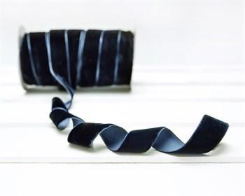 Лента бархатная, 24 мм, темно-синяя, 1 м - фото 9801