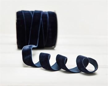 Лента бархатная эластичная, 20 мм, темно-синяя, 1 м - фото 9810