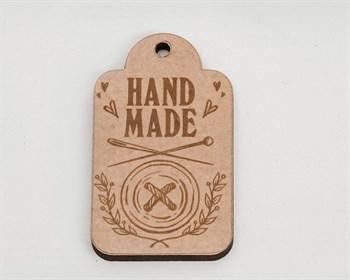 Бирка  Hand Made с пуговкой , деревянная, 3х5 см, 1шт - фото 9858