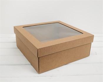 Коробка с окошком 30х30х12 см, крышка-дно, крафт - фото 9864