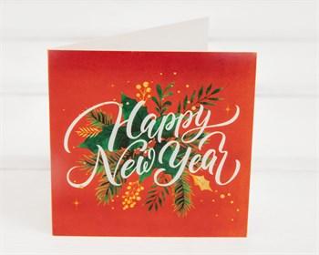 Открытка «Happy New Year», 7х7см, 1шт. - фото 9877
