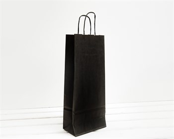 Крафт пакет бумажный, 34х14х8 см, с кручеными ручками, черный - фото 9894