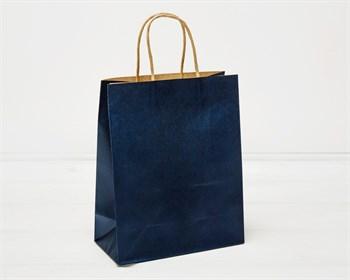 Пакет подарочный, 26х21х10 см, с кручеными ручками, синий - фото 9953