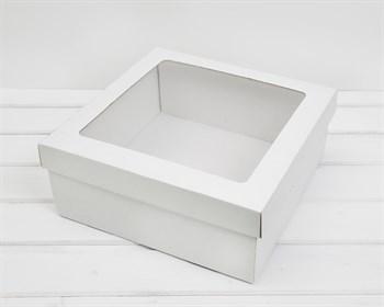 Коробка с окошком 30х30х12 см, крышка-дно, белая