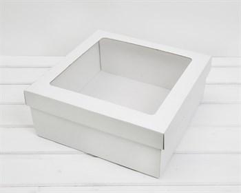 УЦЕНКА Коробка с окошком 30х30х12 см, крышка-дно, белая