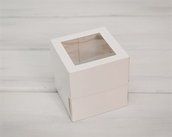 УЦЕНКА Коробка для капкейков/маффинов на 1 шт, с прозрачным окошком, 10х10х11 см, белая