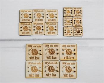 Набор деревянных бирок 18 шт,  100% hand made with love  квадрат, 6 шт - 3х3см, 6 шт - 2,3х2,3 см, 6