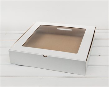 Коробка с окошком, 35х35х7 см, белая