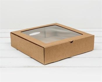 Коробка с окошком, 25х25х6,5 см, крафт