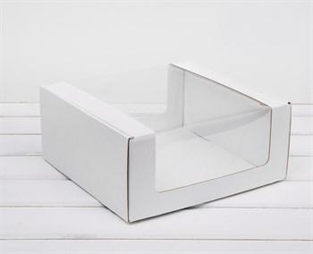 Коробка из плотного картона, 24х24х11 см, с круговым окном, белая