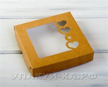 Коробка для пряников и печенья  Сердца,  16х16х3 см, с прозрачным окошком, крафт