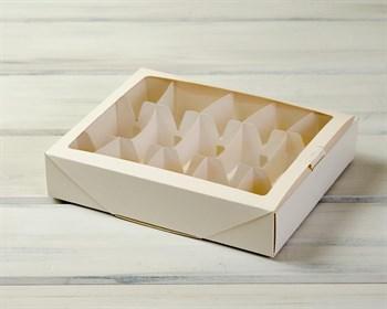 Коробка для 10 кейк-попсов горизонтальная, 25х20х5 см, с прозрачным окошком, белая
