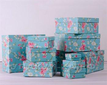 Коробка подарочная  Сакура, голубая, разные размеры