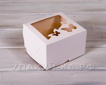 Коробка для капкейков/маффинов на 4 шт, с прозрачным окошком  Бабочки, 17х17х11 см, белая