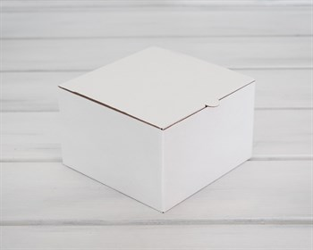 Коробка для капкейков/маффинов на 4 шт, из плотного картона, 16х16х10 см, белая ( БЕЗ ЛОЖЕМЕНТА)
