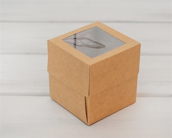 Коробка для капкейков/маффинов на 1 шт, с прозрачным окошком, 10х10х11 см, крафт
