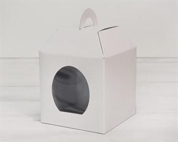 Коробка для пряничного домика/кулича с ручками и окном, 14х14х15 см, белая