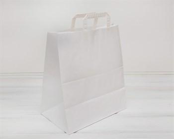 Крафт пакет бумажный, 37х32х20 см, с плоскими ручками, белый