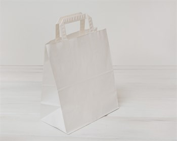 Крафт пакет бумажный, 28х24х14 см, с плоскими ручками, белый