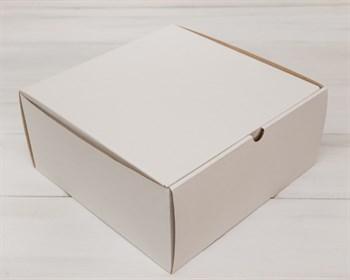 Коробка для высокого пирога 26х26х12 см из плотного картона, белая