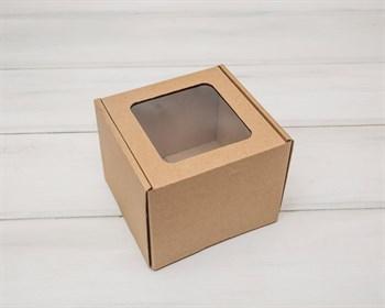 Коробка с окошком, 13х13х11 см, из плотного картона, крафт