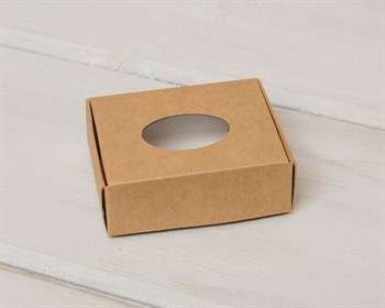 Коробка маленькая с окошком, 7х6х2,5 см, крафт